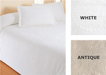 Kensington Rose Matelasse Bedspreads and Shams by Europa Fine Linens