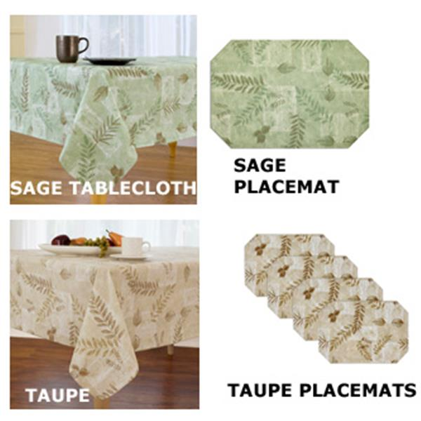 Boxed Fern Flannel Backed Indoor Outdoor Vinyl Tablecloth